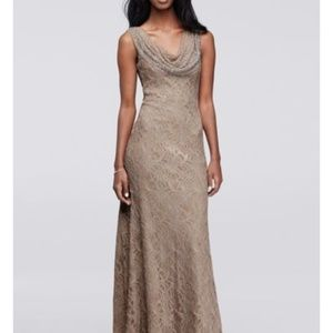 CACHET Double Cowl Long Dress with Caviar Beads